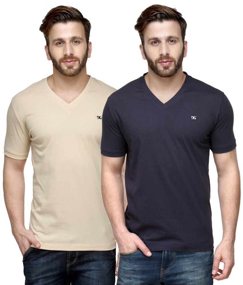 Dazzgear Combo of Beige & Blue V Neck T-Shirts