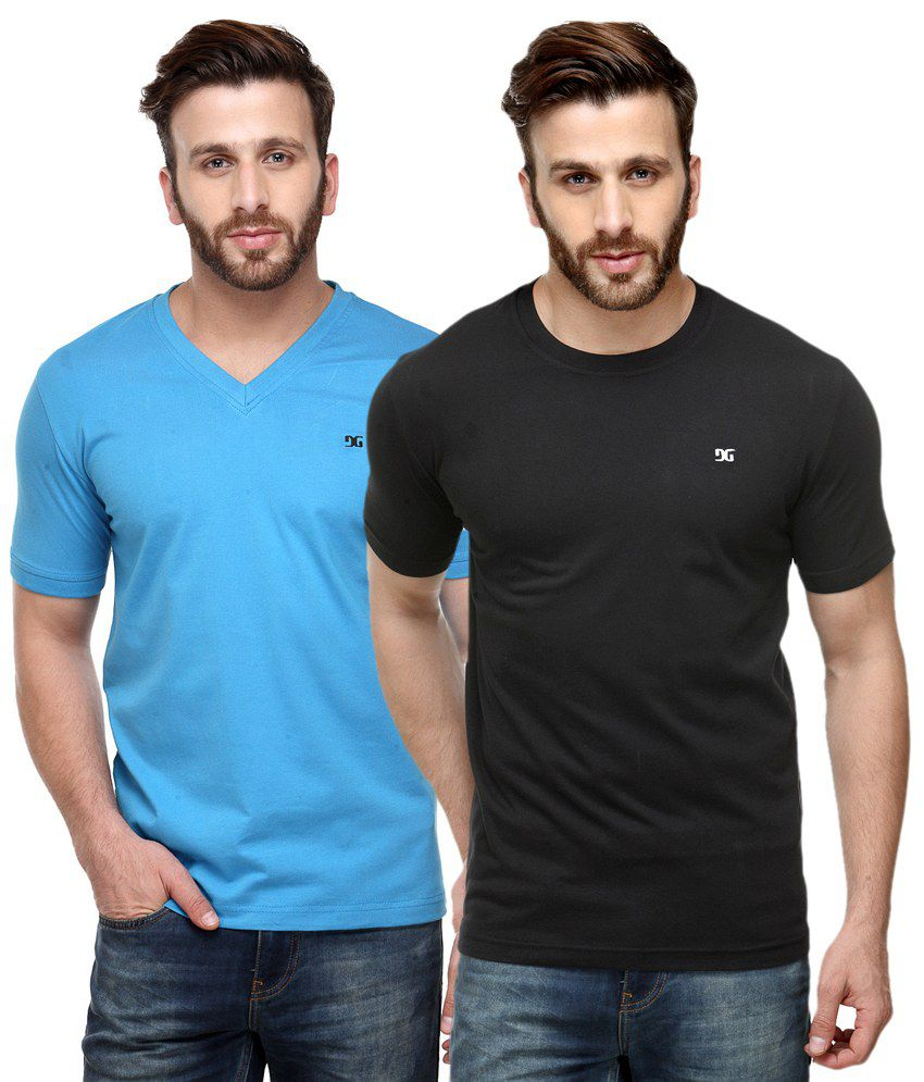 Dazzgear Combo of Black & Blue V Neck T-Shirt and Round Neck T-Shirt