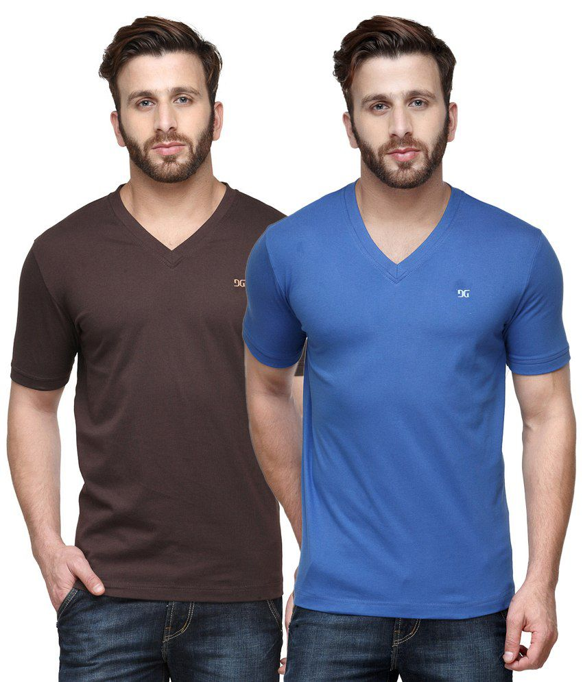 Dazzgear Combo of Brown & Blue V Neck T-Shirt