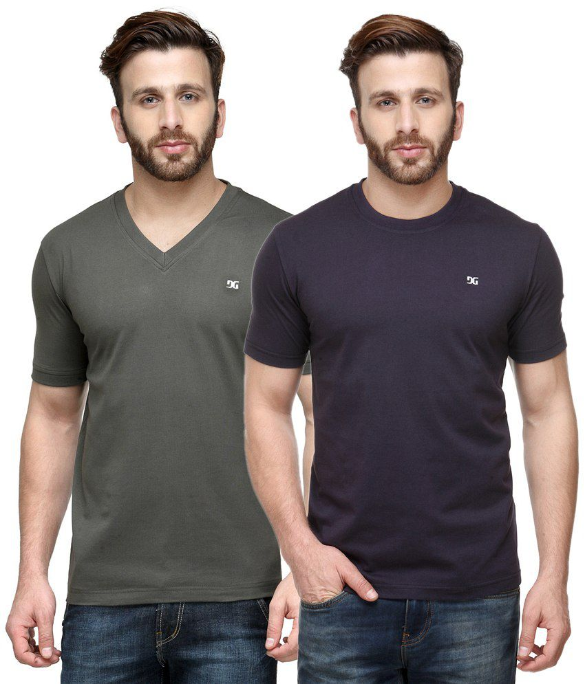Dazzgear Combo of Green & Purple Round Neck T-Shirt and V Neck T-Shirt
