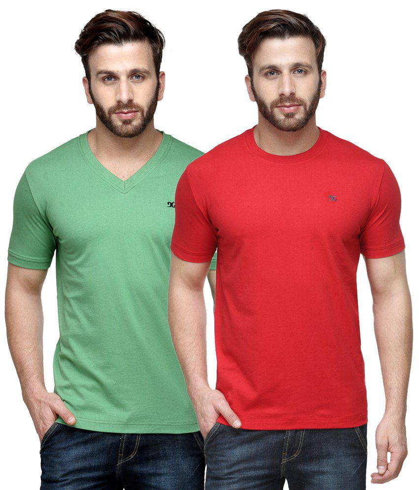 Dazzgear Combo of Green & Red Round Neck T-Shirt and V Neck T-Shirt