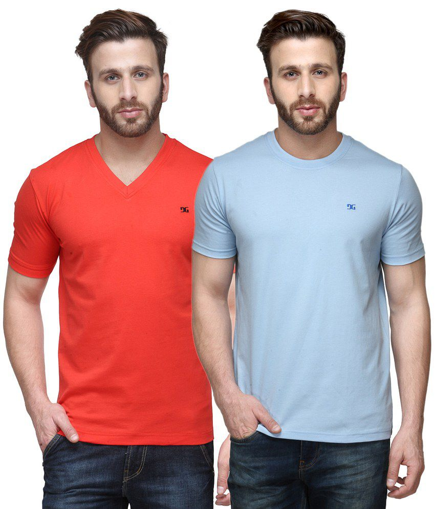 Dazzgear Combo of Red & Blue Round Neck T-Shirt and V Neck T-Shirt