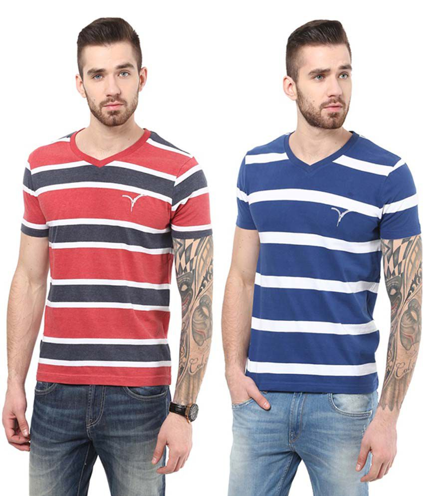Monteil & Munero Red & Blue Half Sleeves Cotton V-Neck T-Shirts (Pack of 2)