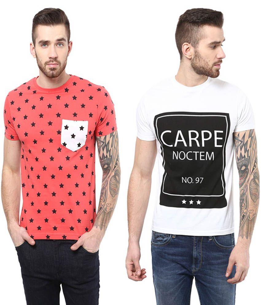 Monteil & Munero White & Orange Half Sleeves Cotton Round Neck T-Shirt (Pack of 2)
