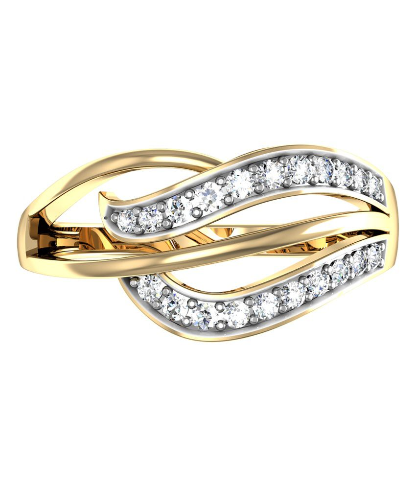 Opus Jewel Contemporary 18Kt Round Diamond Studded Gold Ring