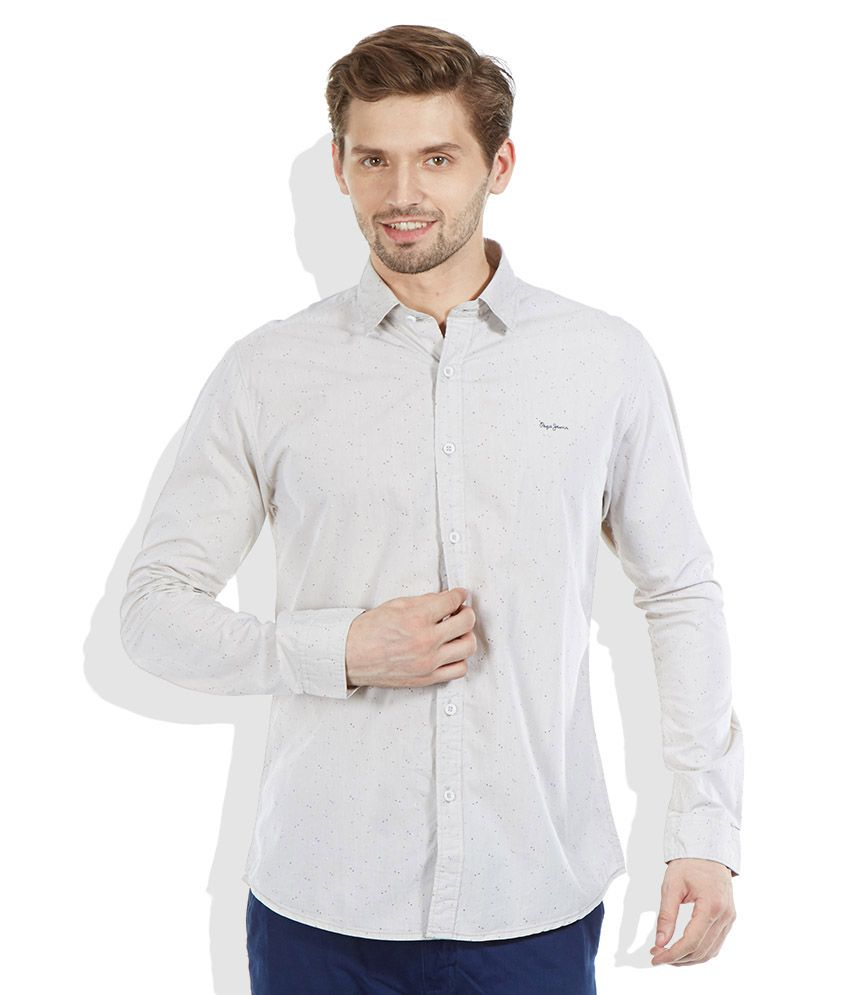 Pepe Jeans Beige Slim Fit Casual Shirt