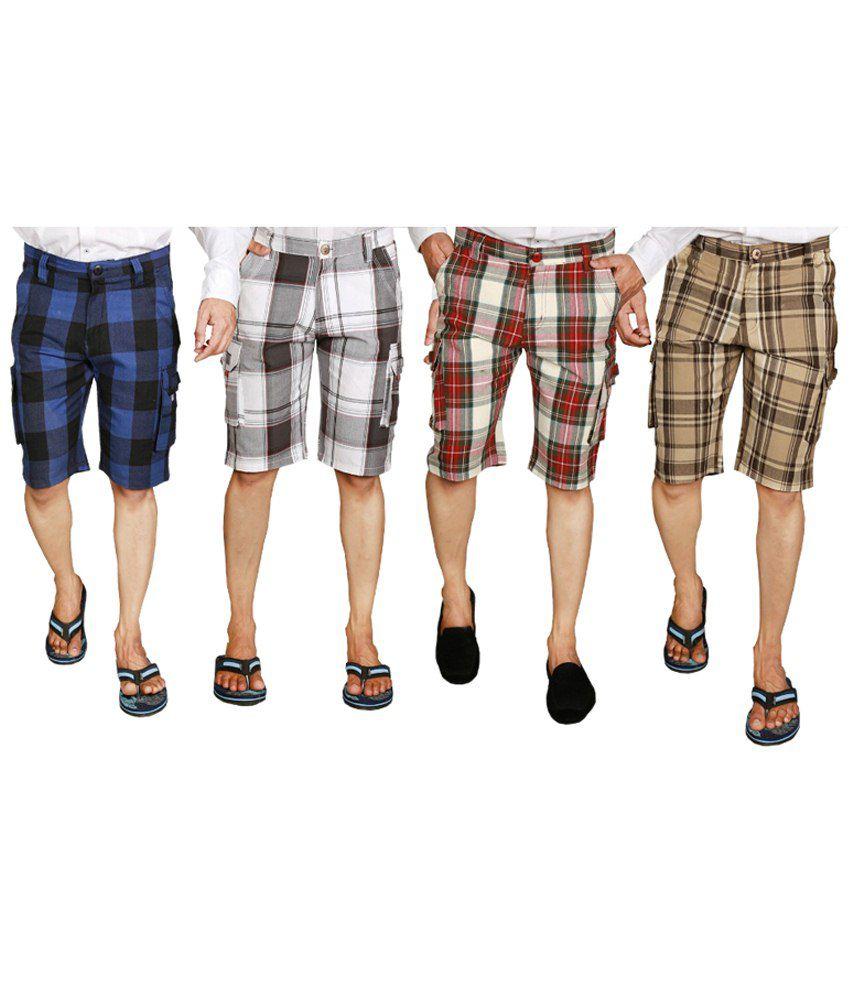 S.A. True Fashion Lightweight Multicolour Combo Of 4 Checks Shorts For Men