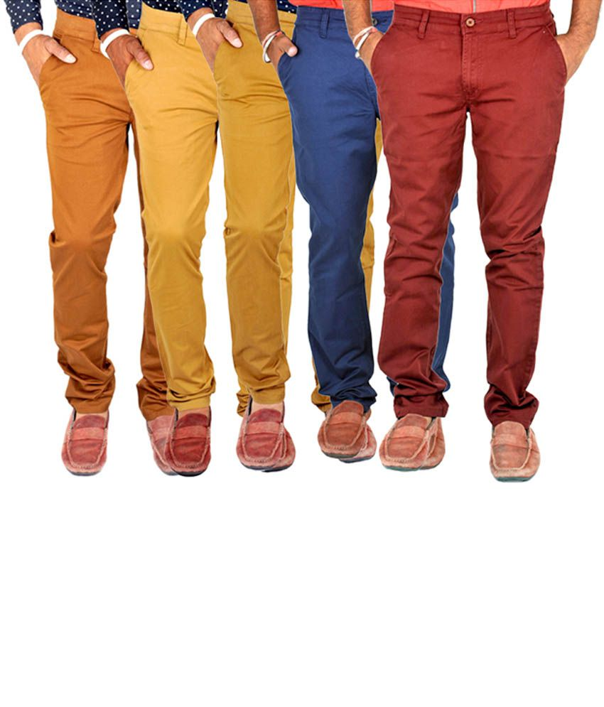 INDIGEN Brown, Cream, Khaki, Navy & Red Casual Chinos (Pack of 5)