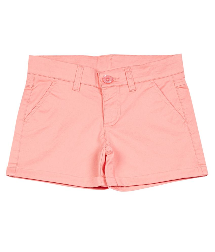 UCB  Peach Solid Shorts For Kids