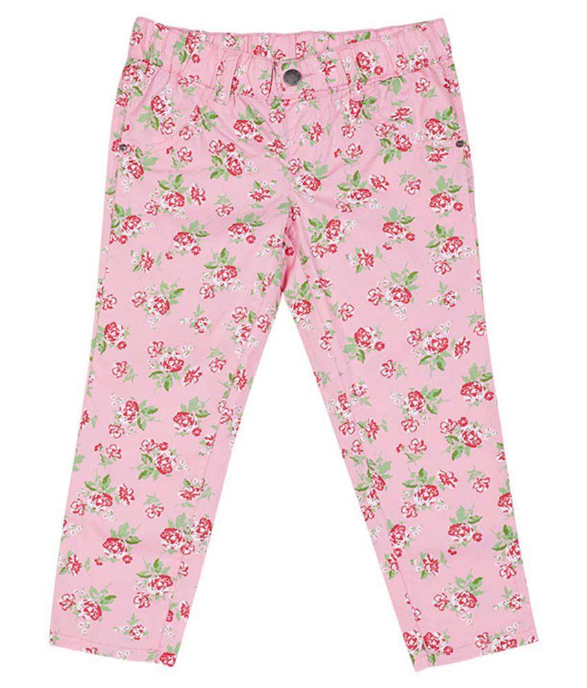 UCB  Pink Printed Capri For Kids