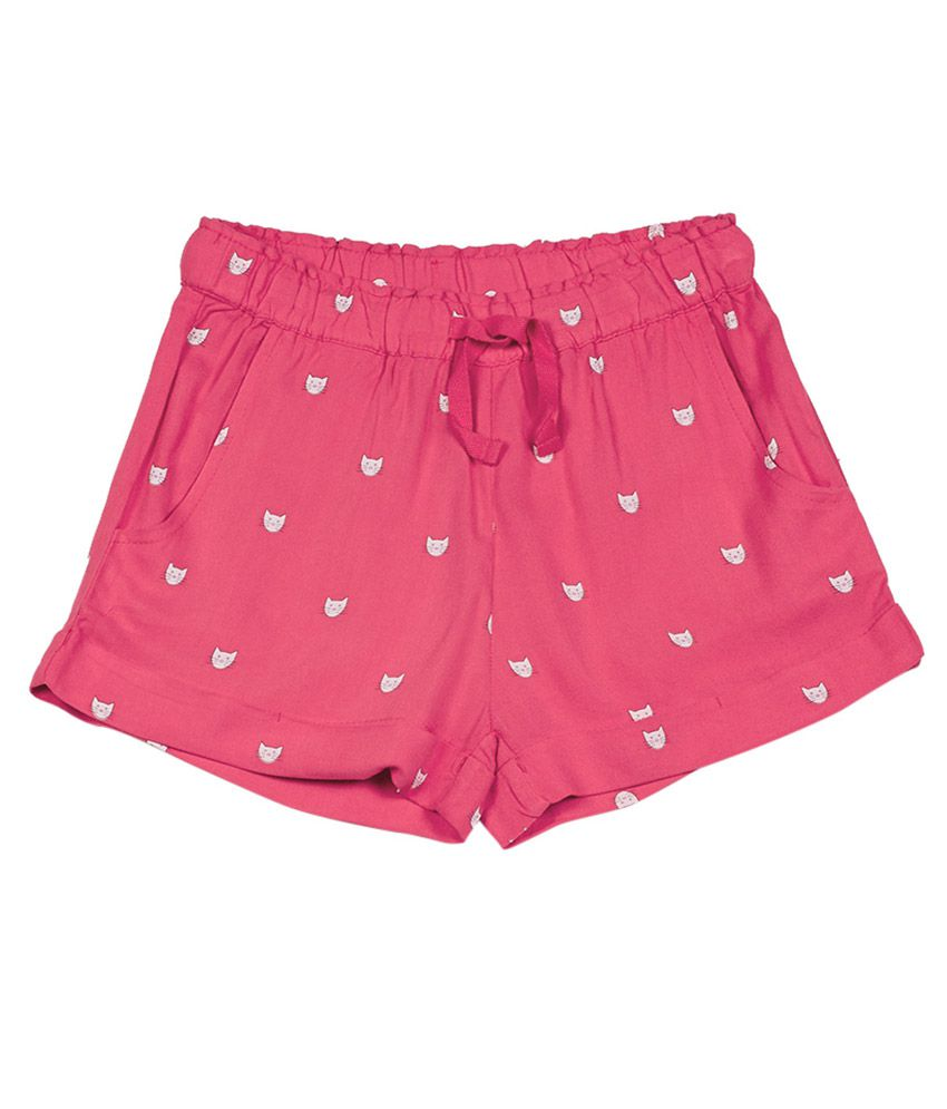 UCB  Red Printed Shorts For Kids