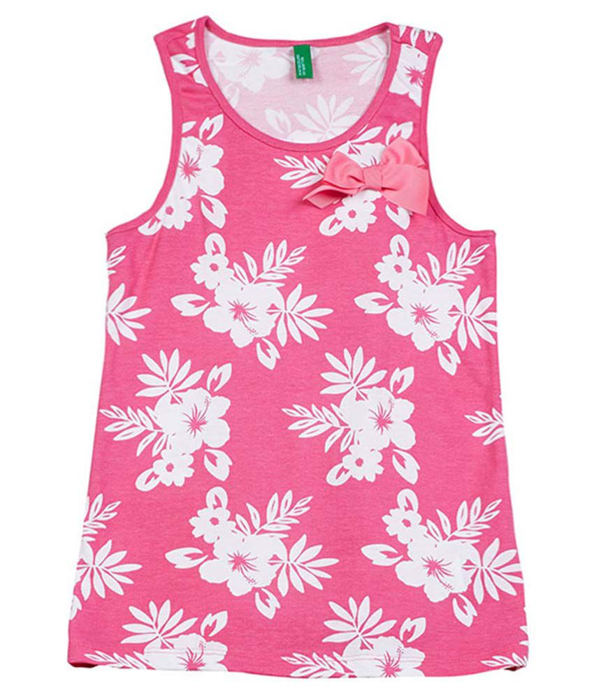UCB Sleeveless Pink Printed Top For Kids
