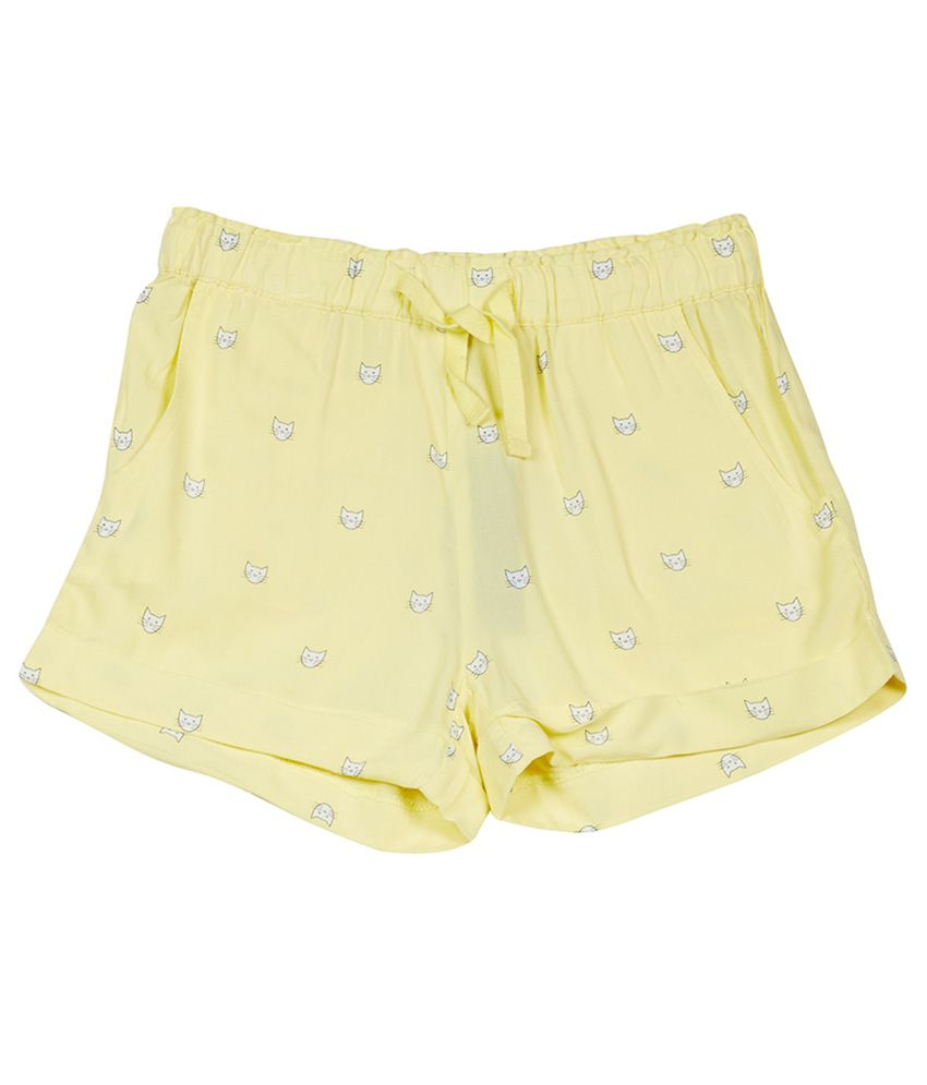 UCB  Yellow Printed Shorts For Kids