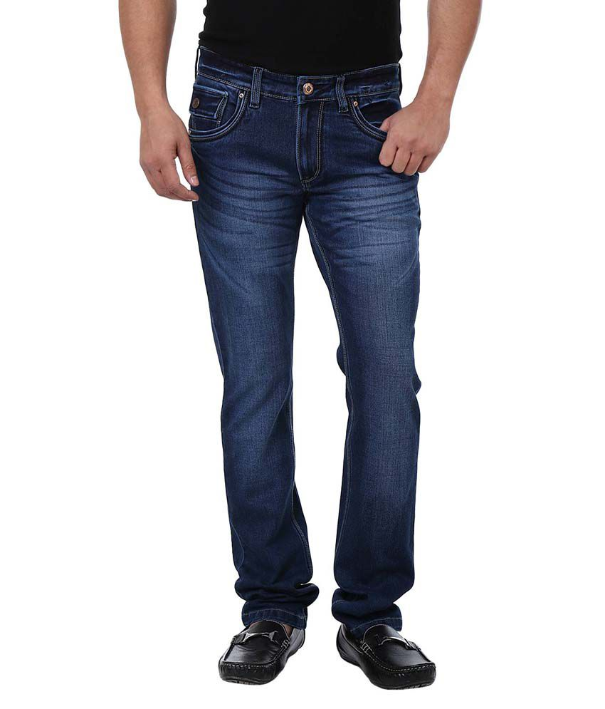 Adhaans Blue Cotton Slim Faded Jeans