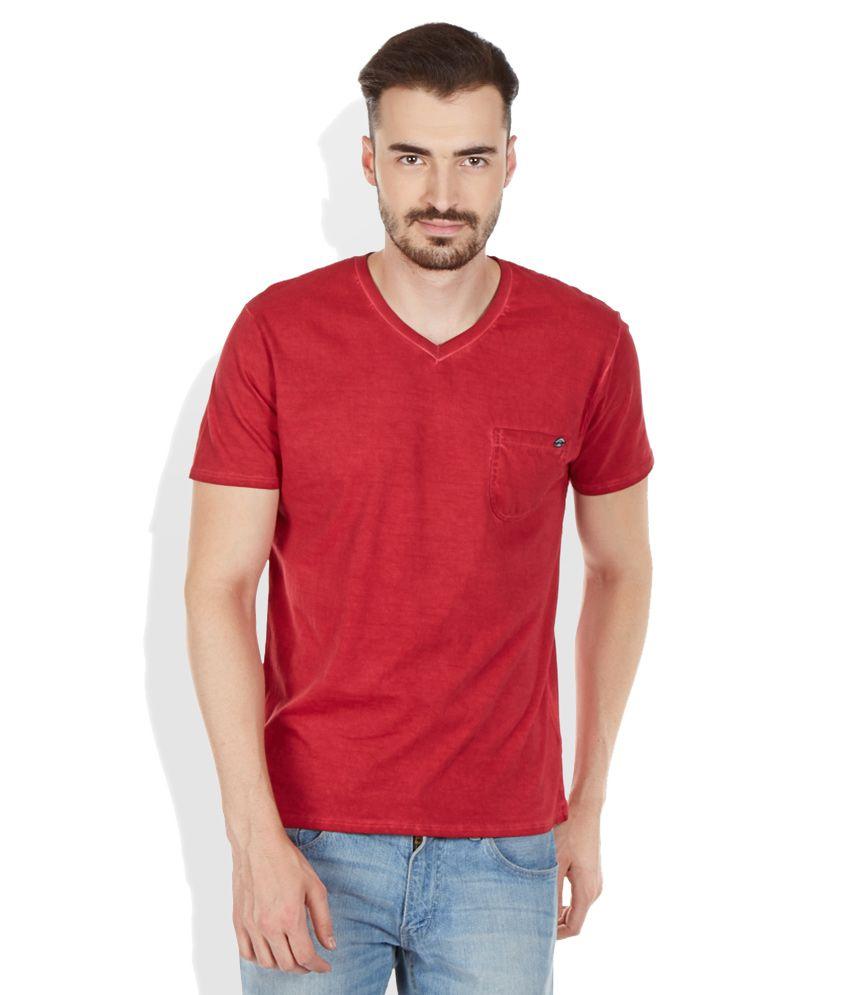 Breakbounce Red V-Neck Neck T Shirt