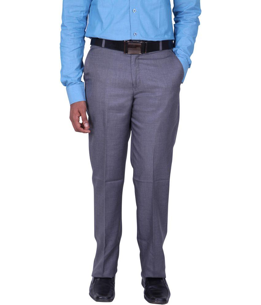 Maansarovar Gray Cotton Flat Formal Trouser