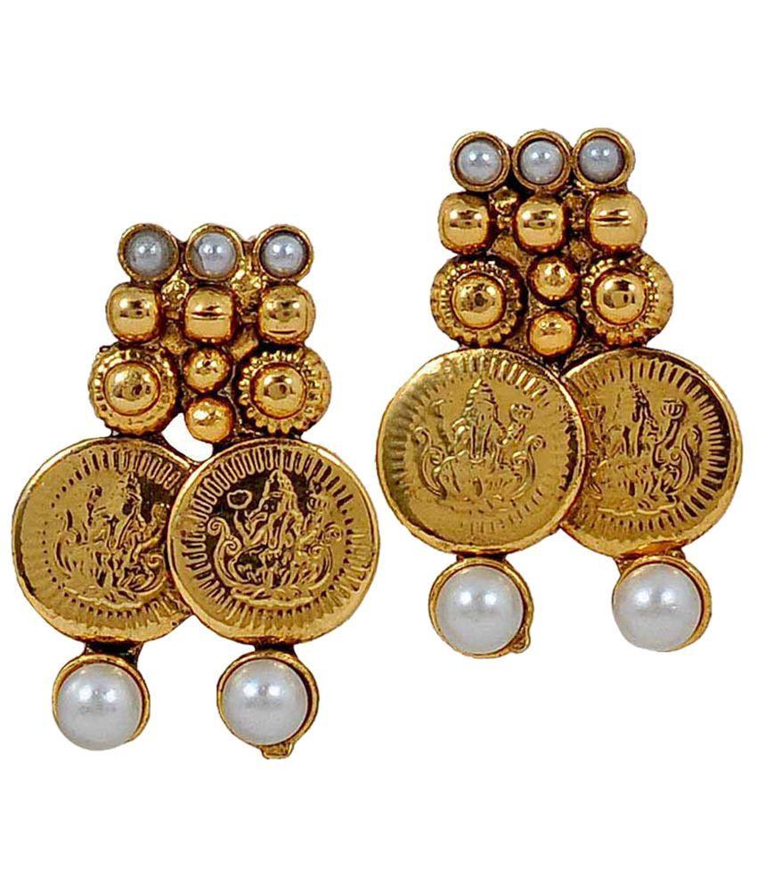 Maayra White & Golden Stud Earrings