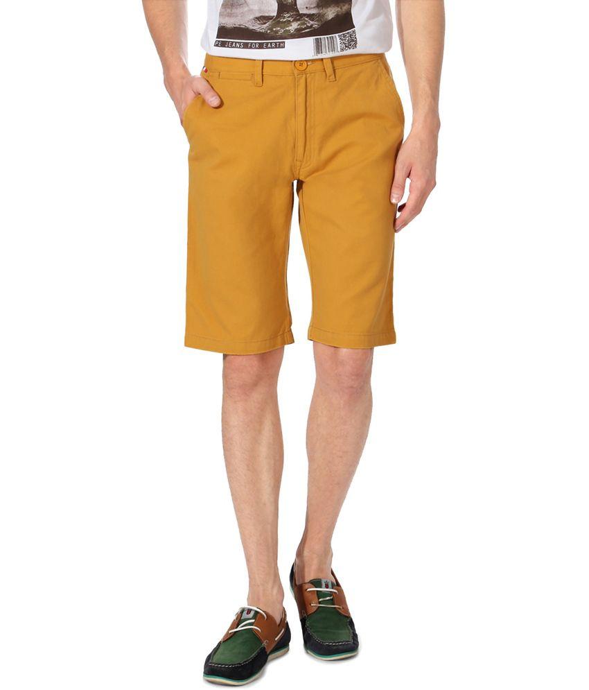 Peter England Yellow Mustard Shorts