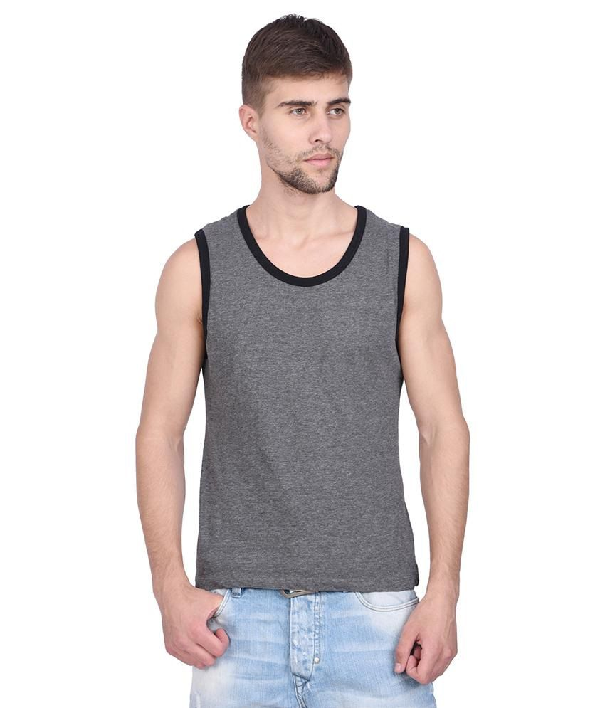 Slub Gray Round Neck Sleeveless Basic T Shirt For Men