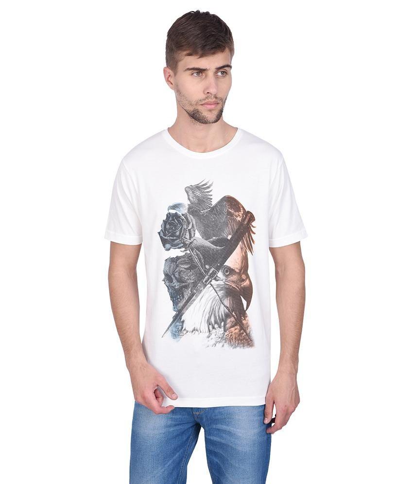 Slub Magnolia White Printed Half Sleeve Round Neck T Shirt For Men