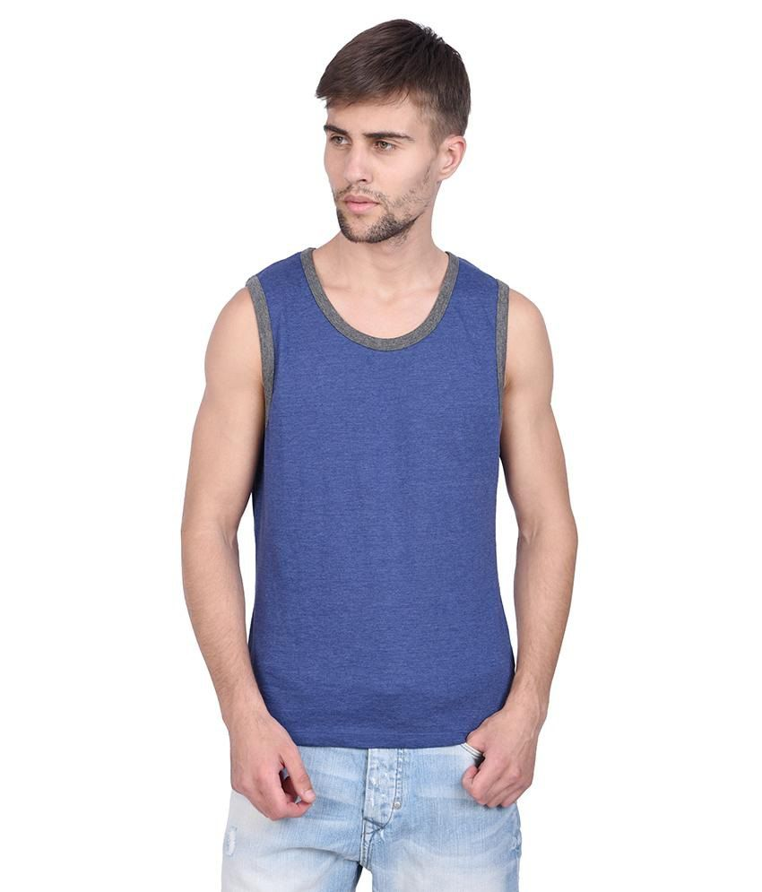 Slub Navy Blue Round Neck Sleeveless T Shirt For Men