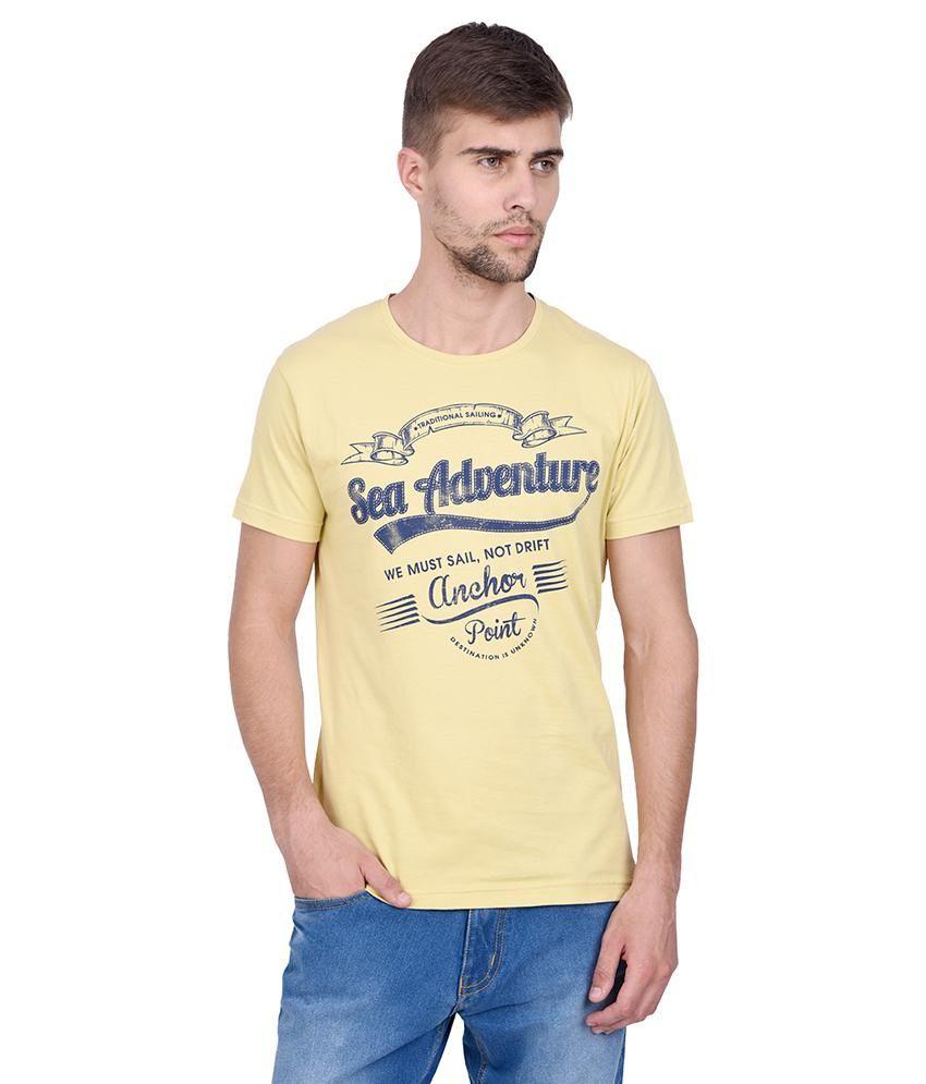 Slub Yellow Printed T Shirt For Men