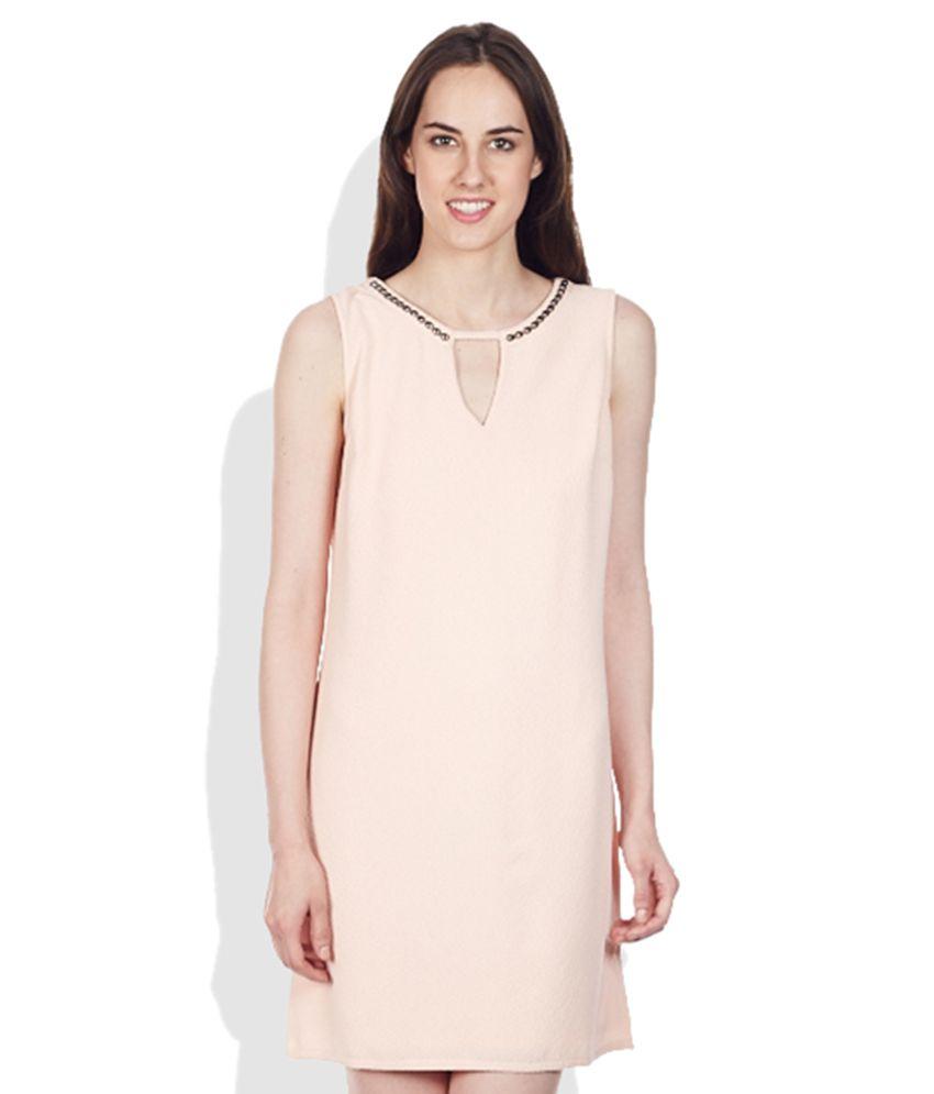 Vero Moda Peach Embellished Sheath Dress