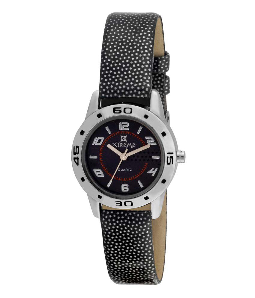 Xtreme Black Round Dial PU Analog Casual Watch For Women