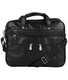 Knott Classy Black PU Laptop Messenger Bag