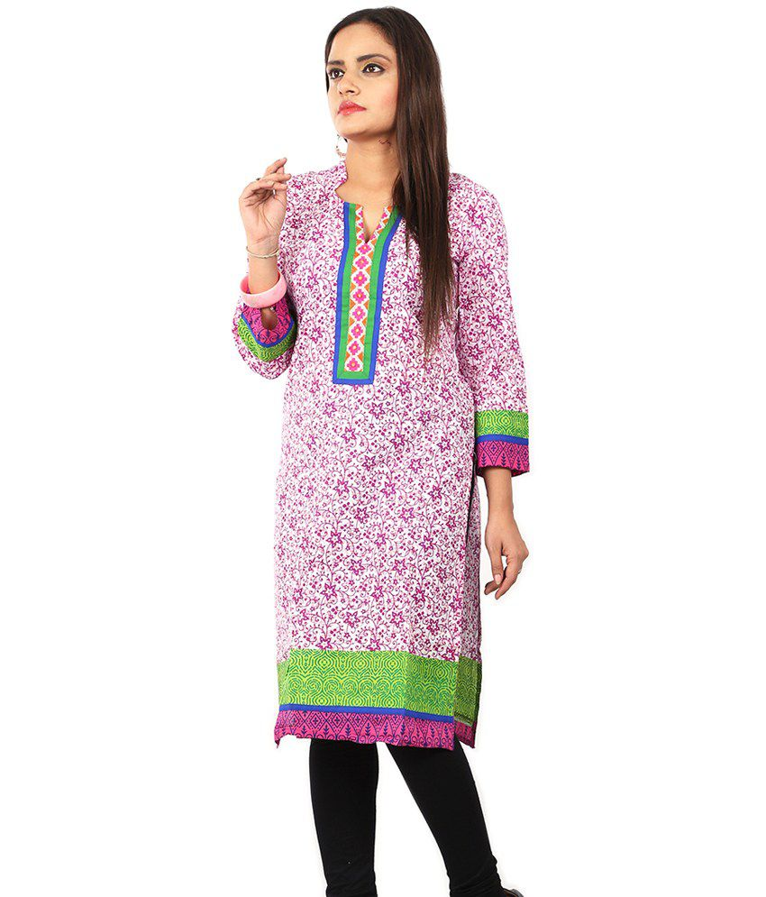 Abelyn Floral Purple Cotton V Neck With Blue & Green Embrodiery Work 3/4 Sleeves Kurti