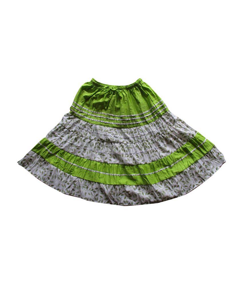 Garlynn Green Printed Cotton Skirt