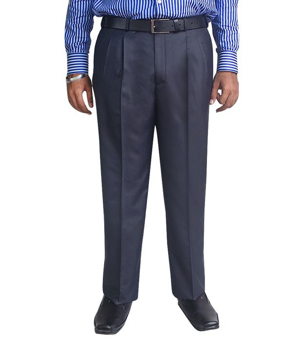 Kinger Navy Blue Pleated Trouser