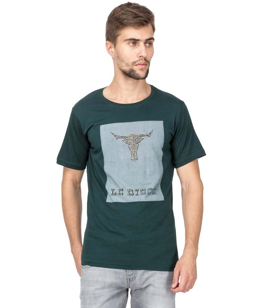 Le Bison Green Cotton Printed Half Sleeve Round Neck T-Shirt