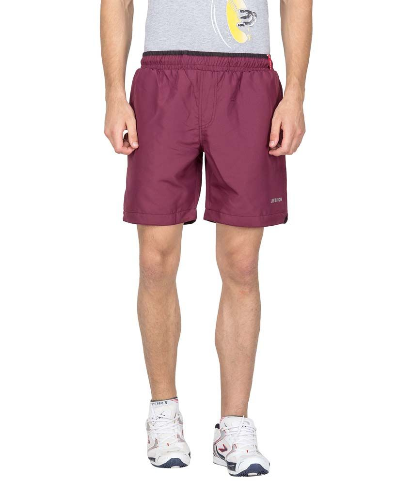 Le Bison Maroon Polyester Solids Shorts