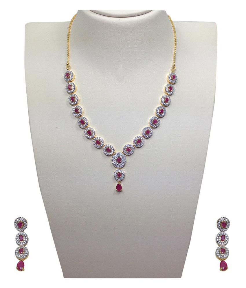Mp Fine Jewellery Cz Ruby Real Diamond Look Necklace Set