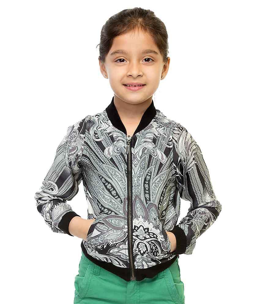 Oxolloxo Black Synthetic Full Sleeves Girls Bomber Jacket Without Hood