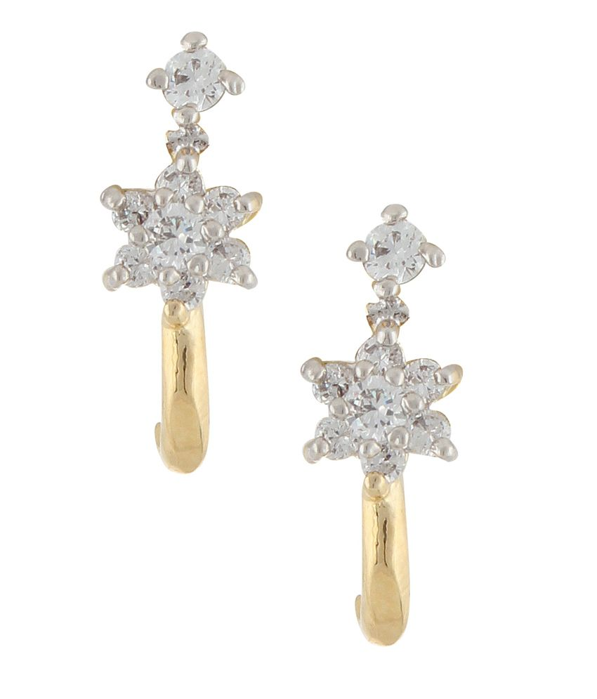 Archi Collection Designer Two Tone Plated Cz Stud Earrings - White