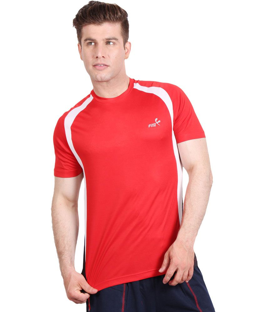 Fitz Red Polyester Round Neck T Shirt