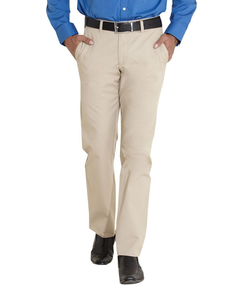 Indigo Nation Beige Cotton Blend Slim Fit Trouser