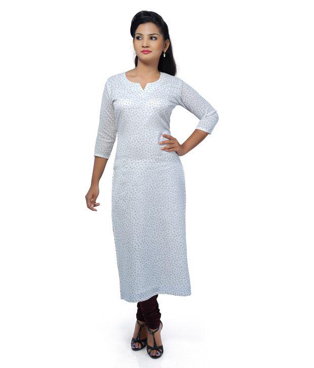 13e755111e6 Saffron White Cotton Kurti - Buy Saffron White Cotton Kurti Online at Best  Prices in India on Snapdeal