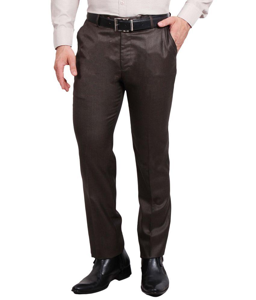 Solemio Black Poly Viscose Slim fit Formal trouser
