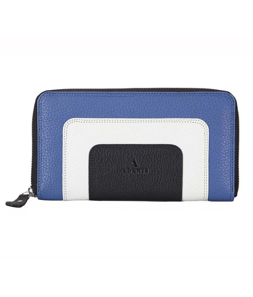 Adamis Royal-blue Leather Regular Wallet For Women