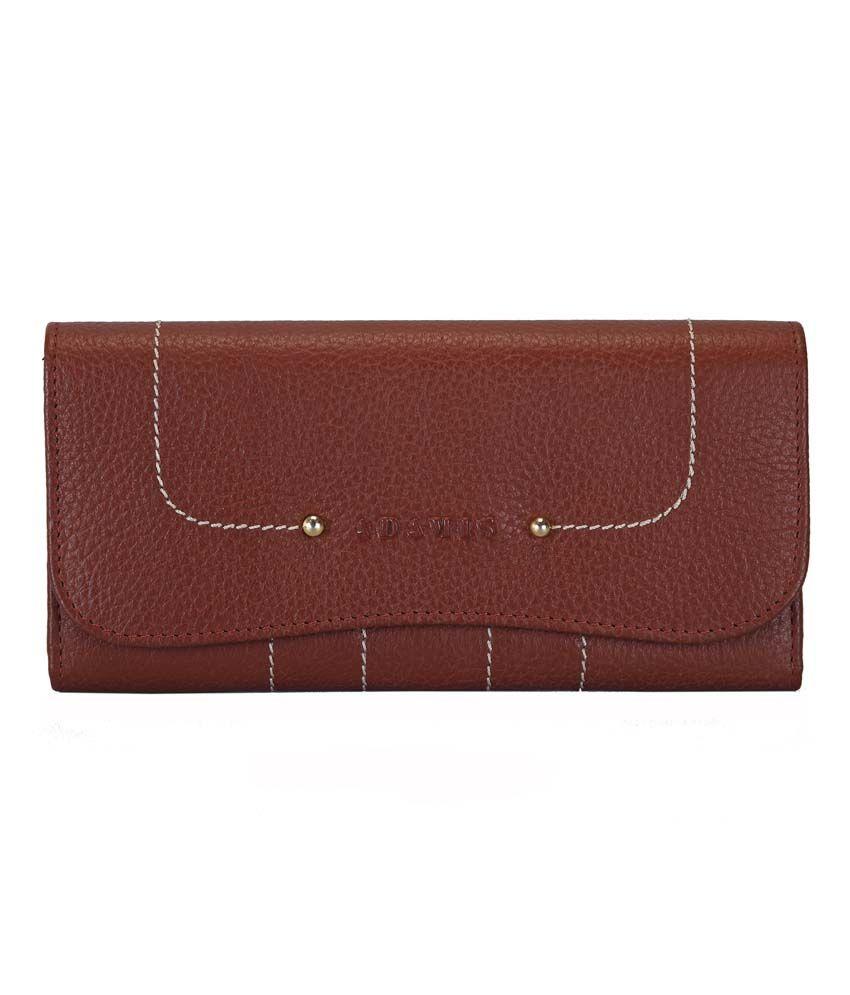 Adamis Tan Leather Regular Wallet For Women