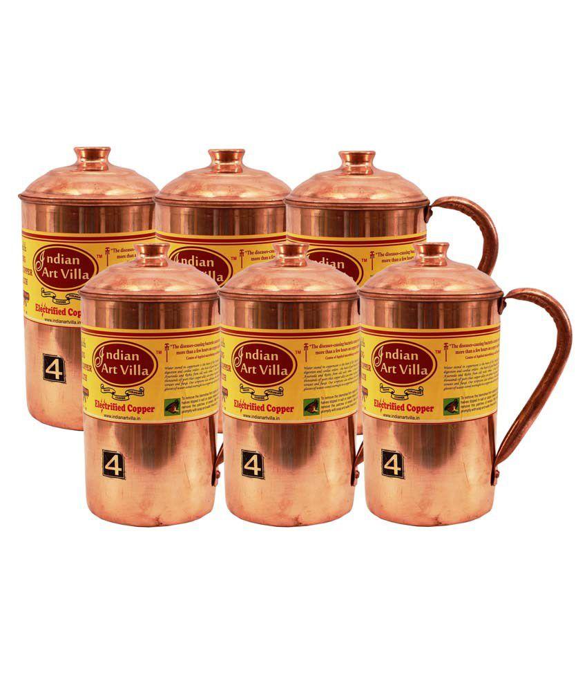 Indian art villa copper jugs set of 6 buy online at for Buy art online india