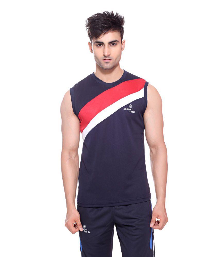 Sport Sun Sportswear Navy Polyester Cutsleeves