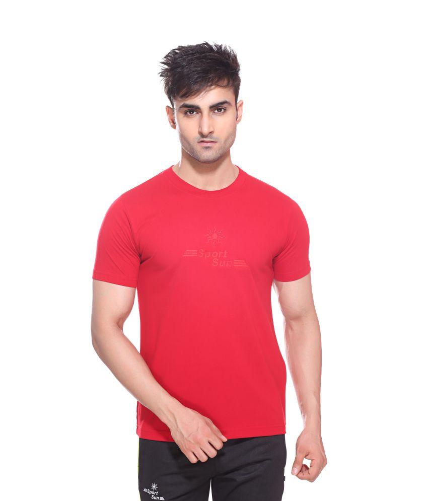 Sport Sun Sportswear Red Cotton Round Neck T-Shirt