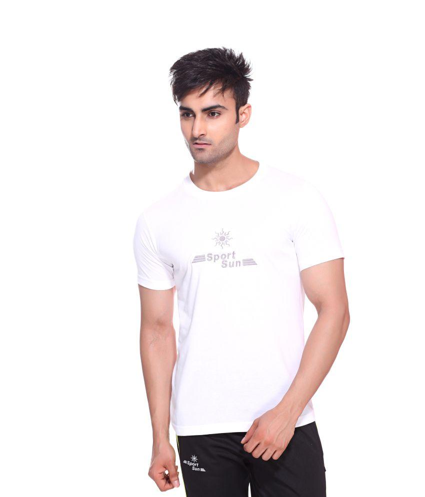 Sport Sun Sportswear White Cotton Round Neck T-Shirt