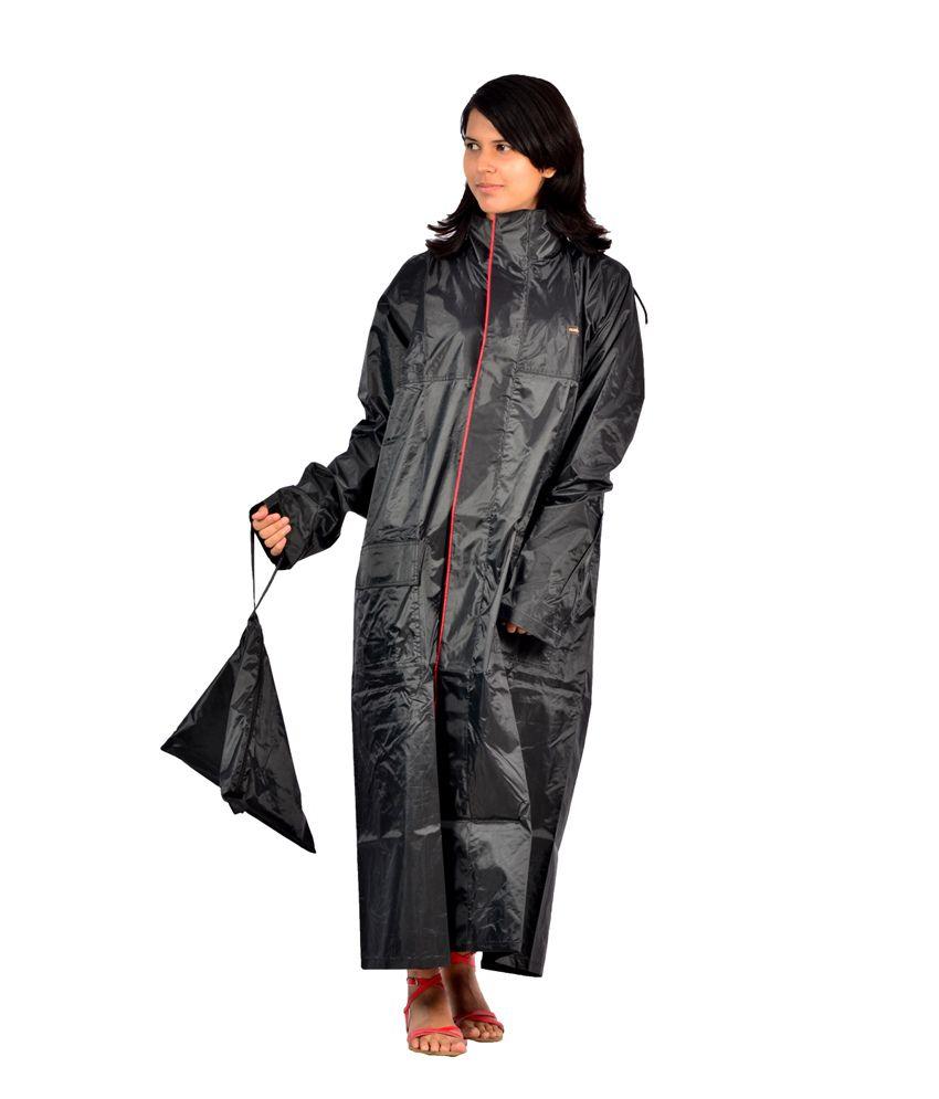 Versalis Black Polyester Full Sleeve Long Raincoat