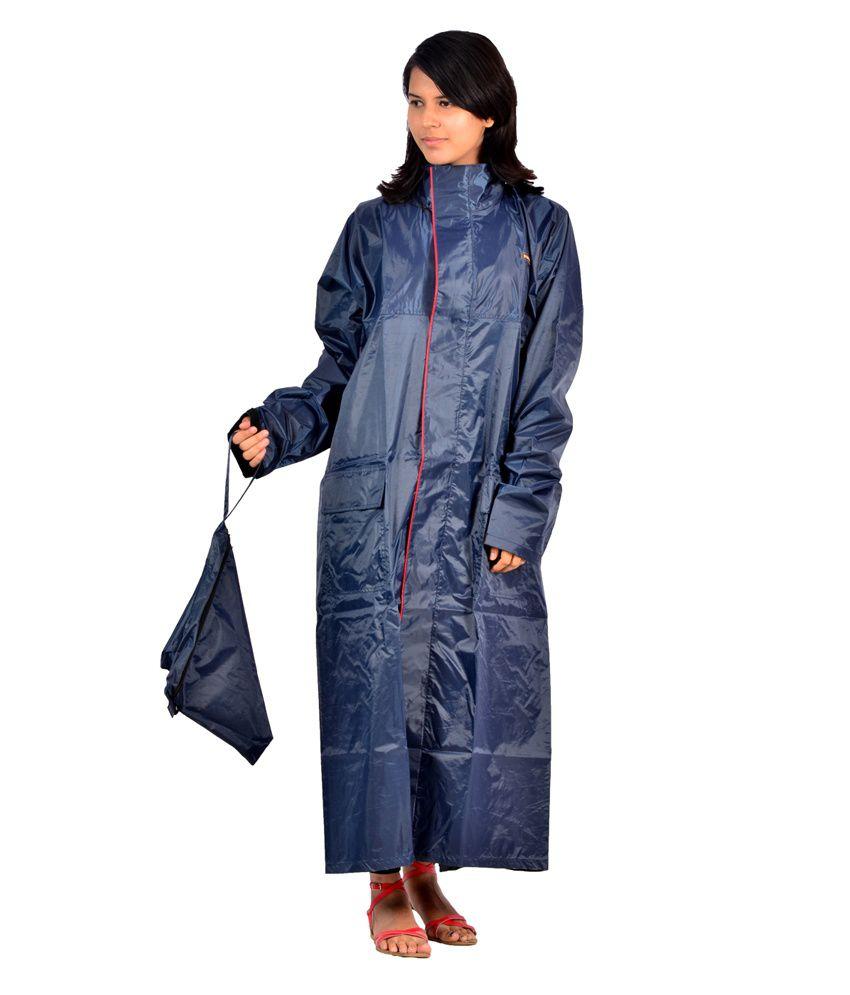 Versalis Blue Polyester Full Sleeve Long Raincoat