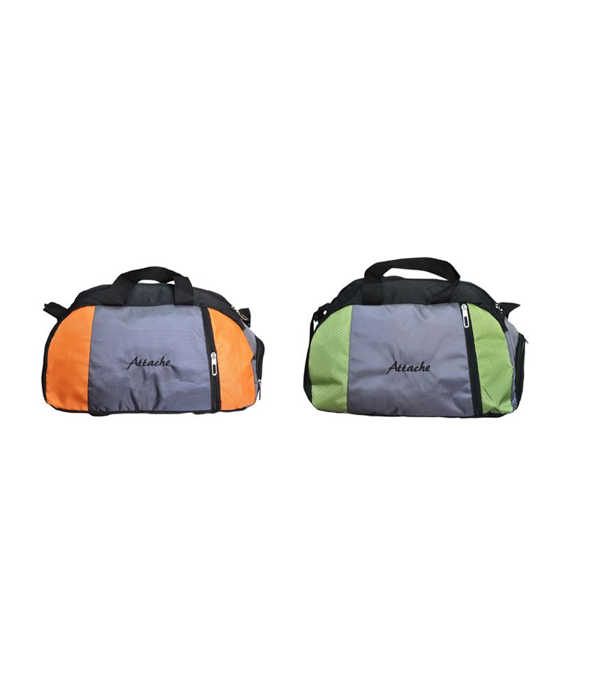 Attache Orange And Green Set Of 2(With Shoe Pocket) gear Gym Bag